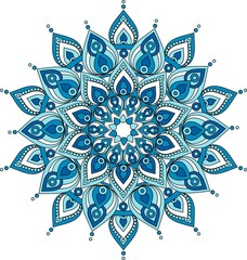 Fototapeta Popularne Vector decorative blue mandala illustration