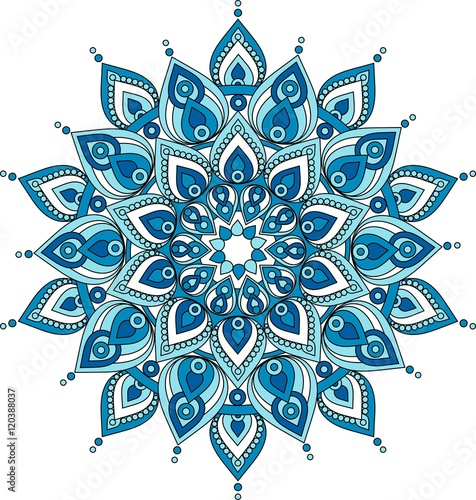 Photo  Vector decorative blue mandala illustration