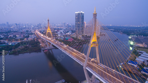 Fototapety, obrazy: The Bhumibol Bridge Industrial Ring Road Bridge