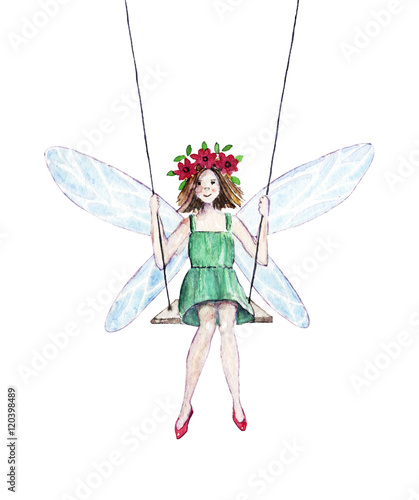 Watercolor illustration of a fairy on a swing Tablou Canvas