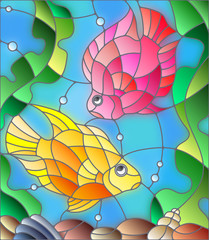Naklejka Illustration in stained glass style with a pair of princess parrotfish on the background of water and algae