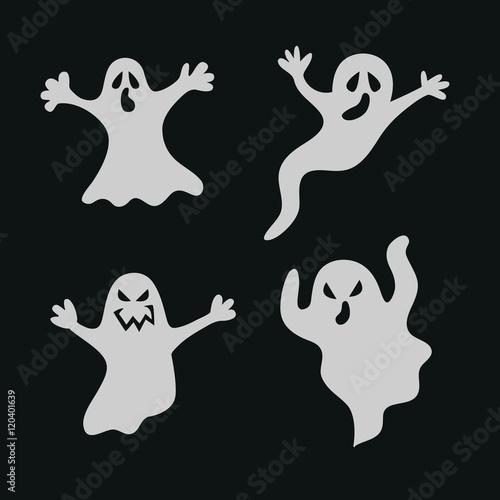 Photo  Set halloween ghosts.