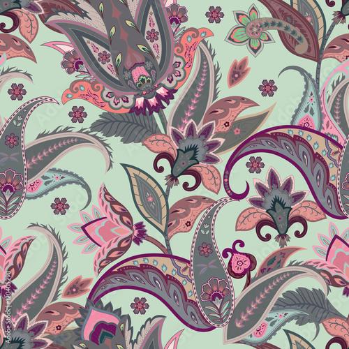 Fotografie, Obraz  Native flowers seamless paisley pattern