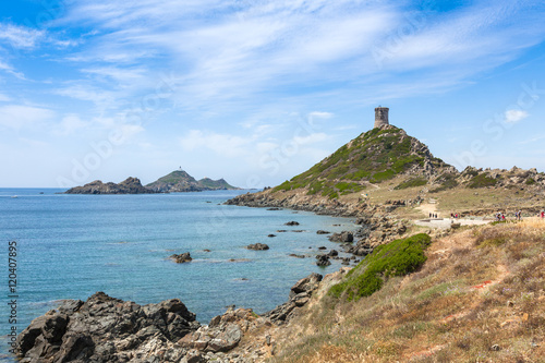 Sanguinaires bloodthirsty Islands hiking path in Corsica, France Canvas Print