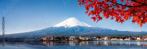 Cadres-photo bureau Bleu jean Berg Fuji Panorama im Herbst