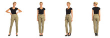 Young Sexy Blond Woman In Khaki Trousers Isolated