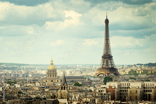 Photo sur Toile Paris View on Eiffel Tower, Paris, France
