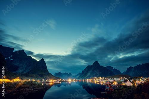 Poster Scandinavie sunset time Reine Village, Lofoten Islands, Norway