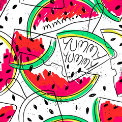 Panel Szklany Owoce Funny Watermelon slices seamless pattern.