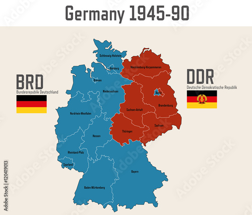 Map Of Germany During Cold War.Germany Cold War Map With Flags Of Eastern And Western Germany Buy