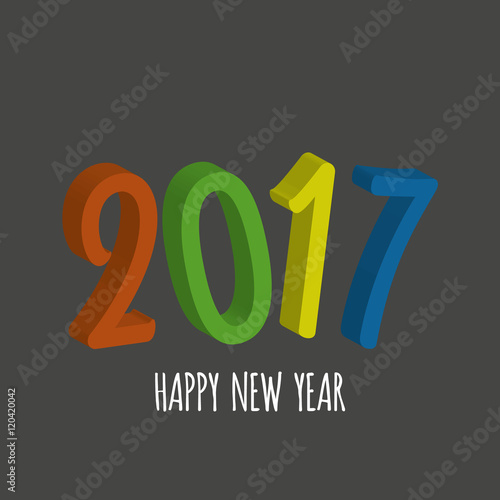 vector modern minimalistic 3d happy new year card for 2017 with main big numbers dark