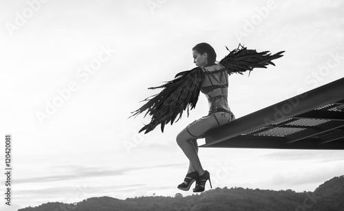Download Angel Black And White Photography PNG