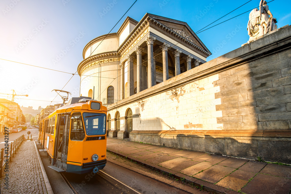 Fototapety, obrazy: Turin cityscape view on Gran Madre square with church and old yellow tram in the morning