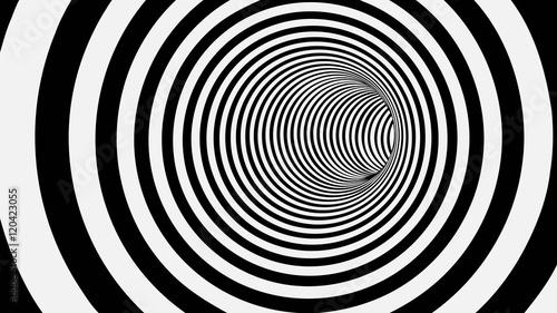 Czarny i biały okrąg Pasiasty Abstrakcjonistyczny tunel
