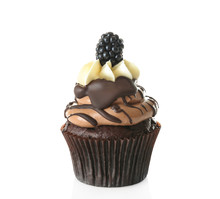 Tasty Chocolate Cupcake With Berry Isolated On White