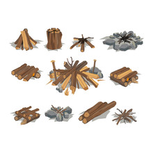 Firewood Stack Vector Wooden M...