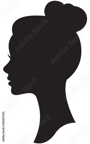 Vector silhouette of a bride with a wedding hairstyle portrait i Wall mural