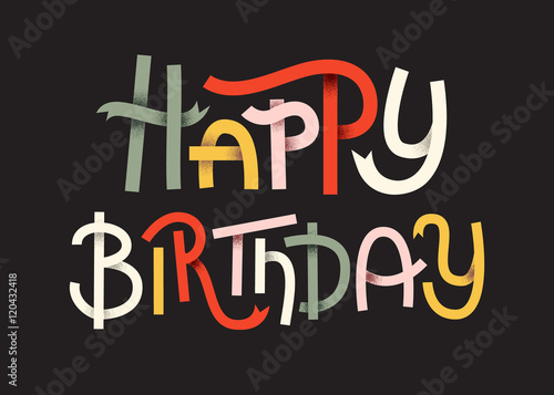 Photo  Happy Birthday Colorful typographic poster