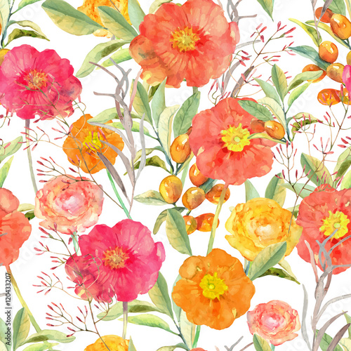 Cotton fabric Vector illustration of floral seamless. Hand drawn colorful flow