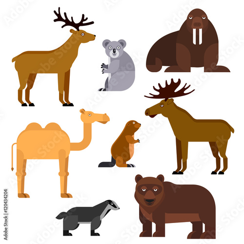Wild animals flat cartoon isolated icons Billede på lærred