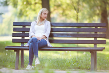 Lonely Woman Sitting In Park I...