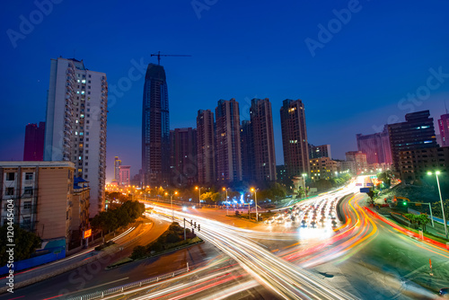 Fototapety, obrazy: Aerial view of city night