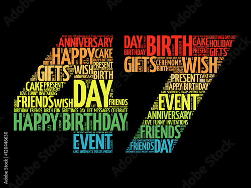 Poster  Happy 47th birthday word cloud collage concept