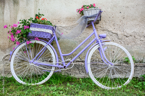 Aluminium Prints Bicycle Pretty purple bicycle with ornamental flowers-Pretty purple bicycle filled with ornamental flowers used for landscaping a garden propped against a rough plaster white wall on green grass