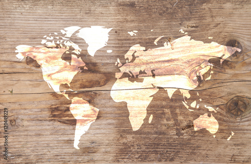 World map on wooden background Wallpaper Mural