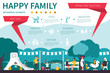 Happy Family infographic flat vector illustration. Presentation Concept