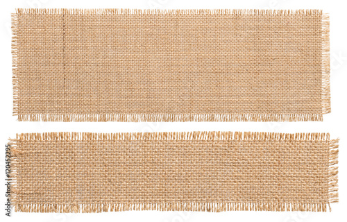 Foto op Aluminium Stof Burlap Fabric Patch Piece, Rustic Hessian Sack Cloth