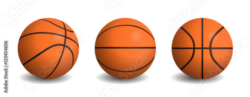 Tela  Vector realistic basketball balls in different views.