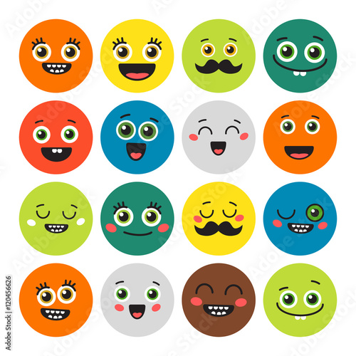 Photo  Funny cartoon emojis set on white background