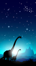 Family Of Dinosaurs. Mountains In The Background And A Starry Sky. Vector Illustration