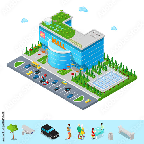 Photo  Isometric Shopping Mall Building with 3D Imax Cinema Park and Fountain