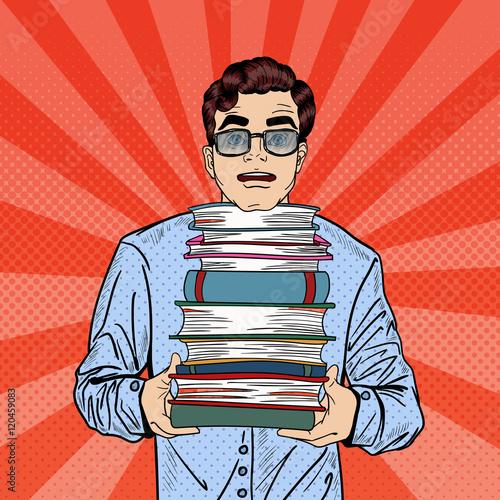 Fotobehang Pop Art Pop Art Man Student Holding Stack of Books Education Concept. Vector illustration