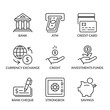 basic banking line icons with text