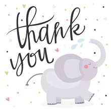 Cute Kids Thank You Card With Elephant