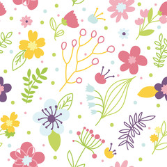 Romantic Floral hand drawn seamless pattern