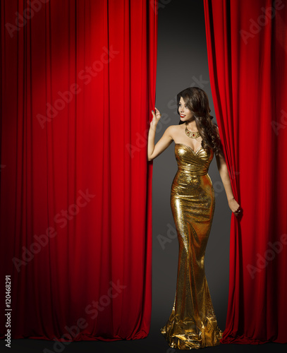 Photo  Actress Opening Red Cinema Curtain, Woman in Elegant Gold Dress