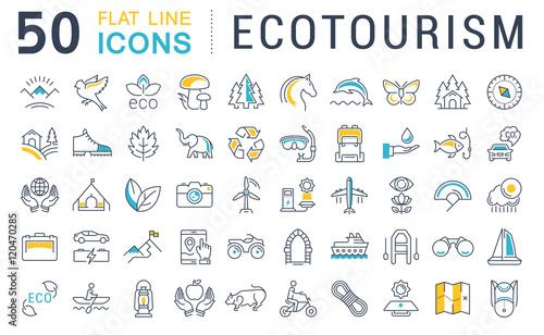 Set Vector Flat Line Icons Ecotourism Slika na platnu
