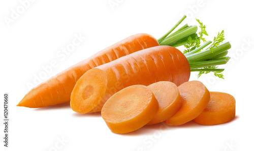 Billede på lærred Fresh carrot and cut pieces isolated on white background as package design eleme