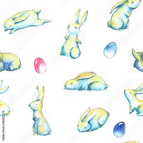 Cotton fabric Hand-drawn watercolor seamless pattern with cute little Easter bunnies on the white background. Repeated print with rabbits and colored eggs
