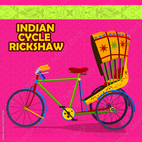 Fényképezés  Indian Cycle Rickshaw representing colorful India