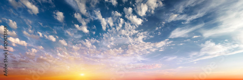 Cloudy sky sunrise panorama