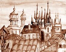 Prague  Czech Republic Capital Cityscape Cartoon Oil Painting