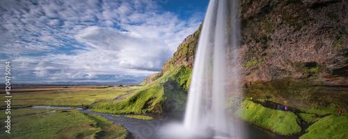 Küchenrückwand aus Glas mit Foto Wasserfalle Seljalandsfoss, south of Iceland