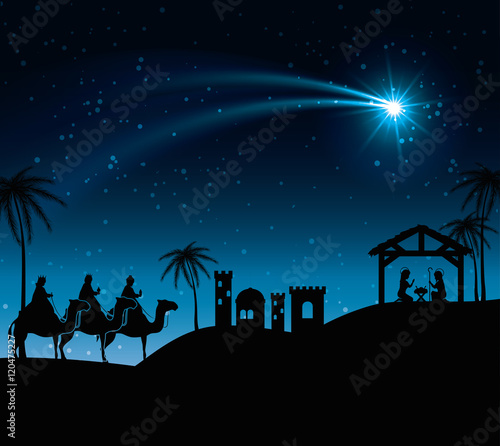 Photo  silhouette three wise kings manger design isolated vector illustration eps 10