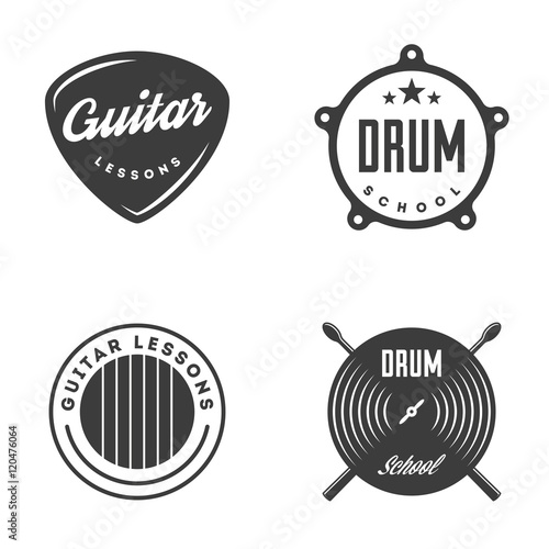 Obraz na płótnie Drum and Guitar school isolated labels, badges.