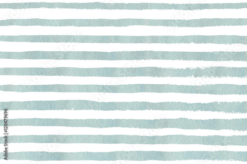 Fotografie, Obraz  Watercolor light blue stripe grunge pattern.